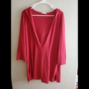 Eileen Fisher Cashmere Hoodie Red V Neck Sweater